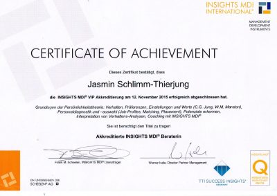 INSIGHTS MDI Zertifikat • Jasmin Schlimm-Thierjung